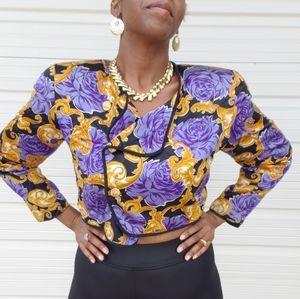 Vintage Silk Crop Top Jacket  Size 16